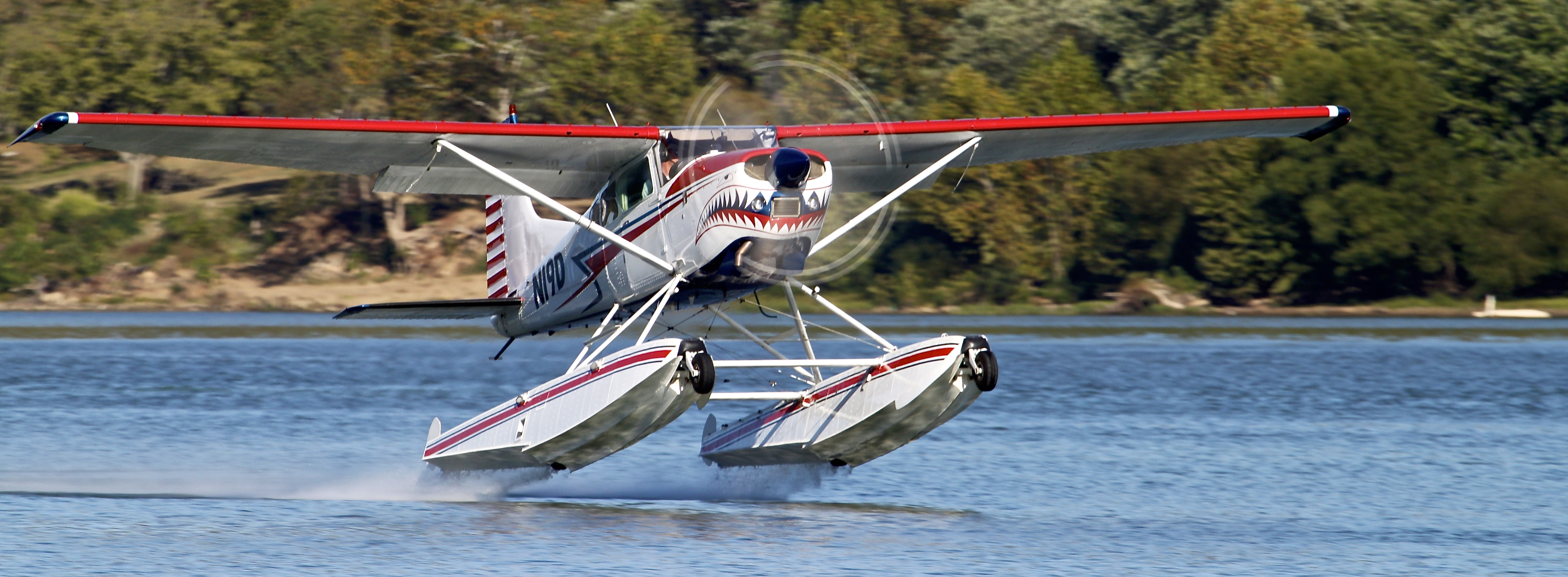 N19D-Shark Aviation Amphibious 185 Seaplane Water Takeoff