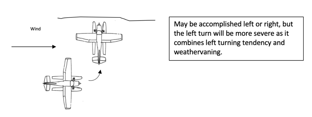 securing the seaplane - beaching example - wind blowing from the side