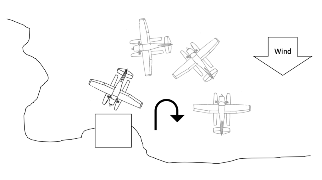 securing the seaplane - departing the dock example
